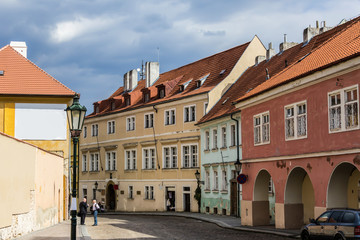 The old house of the nineteenth century in the old streets of Prague . The Old Town District. Prague , Czech Republic.