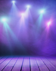 Stage with purple smoke