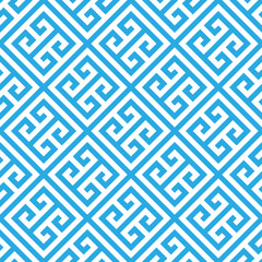 Greek key seamless pattern background in black and white. Vintage and retro abstract ornamental design. Simple flat vector illustration.
