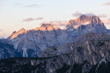 High mountain ridge at sunset