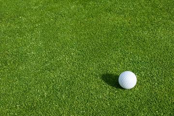 Boczny widok piłka golfowa na kładzenie zieleni