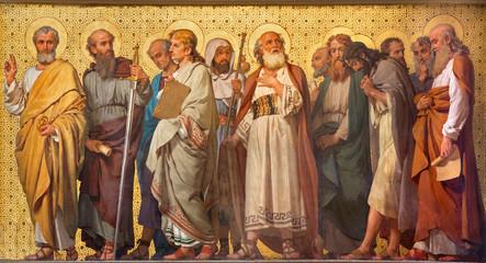 TURYN WŁOCHY, MARZEC, - 15, 2017: Symboliczny fresk Dwanaście apostołów w kościelnym kościół San Dalmazzo Enrico Reffo (1914).