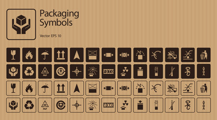 A set of packaging symbols on cardboard background