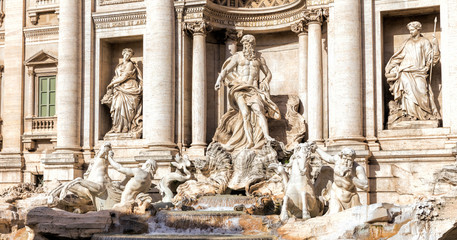 Trevi Fountain (Fontana di Trevi) in Rome, Italy. Trevi is most famous fountain of Rome
