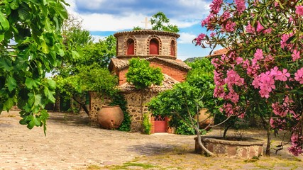 A chapel in the ancient famous monastery Moni Limonos Monastery on the island of Lesbos in Greece.