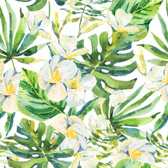 Watercolor seamless pattern with tropical leaves and orchid