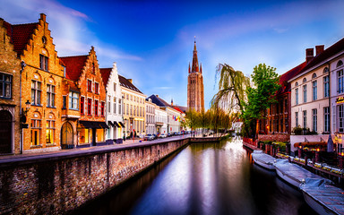 Beautiful view of Brugge (Bruges) old historical town in Belgium