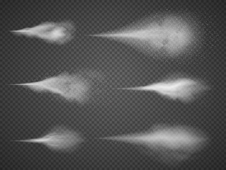 Airy water spray mist vector set. Sprayer fog isolated on black transparent background