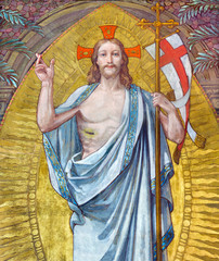 TURIN, ITALY - MARCH 15, 2017: The fresco of Resurrection of the Lord in little chapel Capella Pinardi - the first chapel of Don Bosco the founder of Salesians by Paolo Giovanni Crida (1886  - 1967)