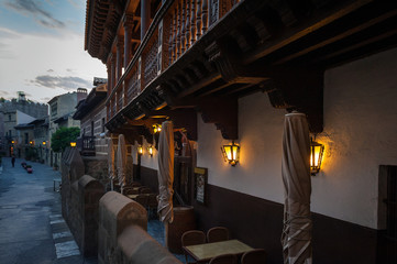 Evening at traditional Spanish village in Barcelona, Spain
