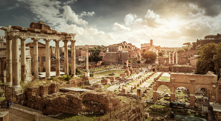 Panoramic view of the Roman Forum in Rome, Italy