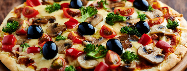 Pizza with Ham, Mushrooms and Broccoli