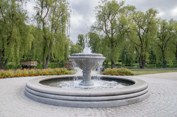 Fountain located at Gdansk Orunia Park in Poland.