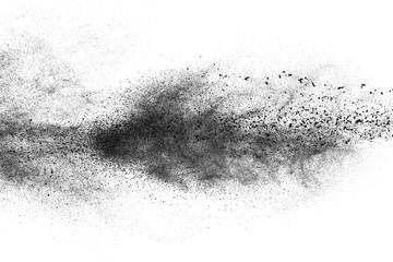 Black dust on white background
