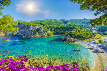 Amazing bay with crystal clear water in Paleokastritsa, Corfu island, Greece