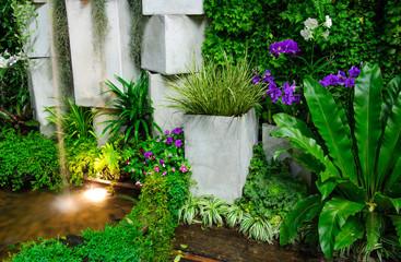 indoor garden with artificial waterfall