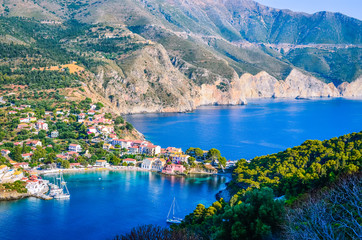 Traditional fishing village of Assos at Kefalonia island in Greece