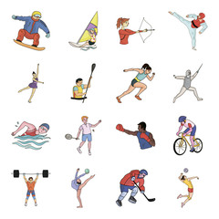 Hockey, tennis, boxing sports included in the Olympic Games. Olympic sport set collection icons in cartoon style vector symbol stock illustration web.