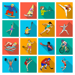 Hockey, tennis, boxing sports included in the Olympic Games. Olympic sport set collection icons in flat style vector symbol stock illustration web.