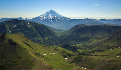 Kamchatka aerial views of mountains and volcanos