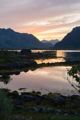 Coucher de soleil sur les îles Lofoten, Norvège