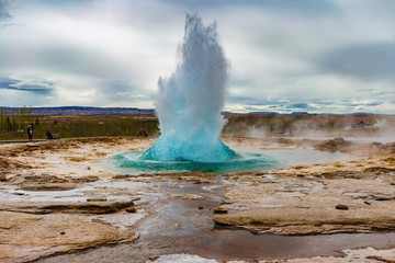The Great Geysir erupting in spring, Iceland