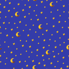 Seamless pattern with gold cartoon stars and moons on blue background.