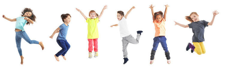 Collage of jumping schoolchildren on white background