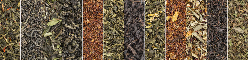 variety of black, green, red and herbal tea banner