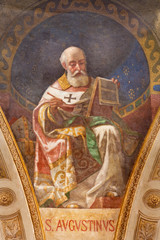 TURIN, ITALY - MARCH 15, 2017:  The fresco of St. Augustine doctor of the church in cupola of church Basilica Maria Ausiliatrice by Giuseppe Rollini (1889 - 1891).