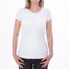 Shirt design and people concept - close up of young woman in blank white tshirt front and rear isolated. Mock up template for design print