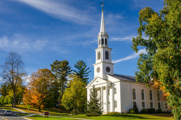 Traditional American White Church in Williamstown, MA, at Sunset