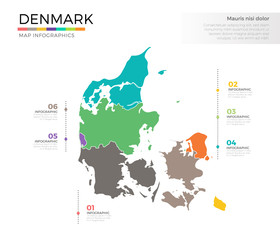 Denmark country map infographic colored vector template with regions and pointer marks