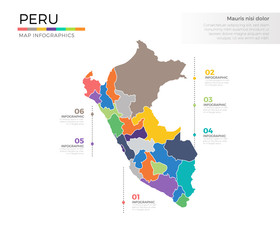 Peru country map infographic colored vector template with regions and pointer marks
