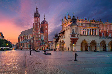 Krakow. Image of old town Krakow, Poland during sunrise.