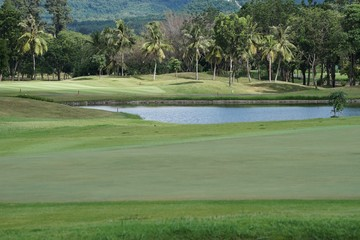 Golf course is a place to play sports. That requires money and specialized capabilities to design and build.