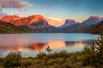 Sunset Colors on White Rock and Square Top Mountains above the Green River Lakes