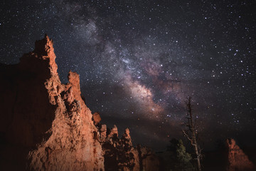 Milky Way and Stars over Bryce Canyon Hoodoos