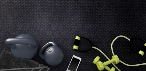 3D rendering of Fitness background with kettlebells and smartphone.