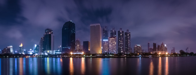 Big city in the the night life by using long exposure technics, Panorama landscape ,Town lanscape