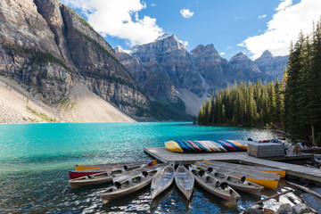 Canoas at Moraine Lake Banff National Park Alberta Canada