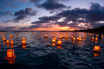 Lantern Floating Hawaii ceremony on Oahu, Hawaii which honors loved ones who have passed away