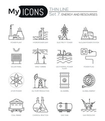 Modern thin line icons set of energy and resources