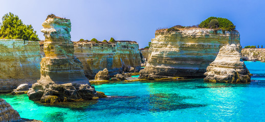 Stacks of Torre Sant' Andrea, Salento coast, Puglia region, Italy