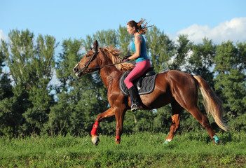 Young female riding on saddle horse