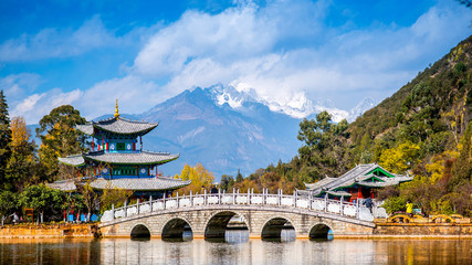 Lijiang old town scene-Black Dragon Pool Park.Yunan China.