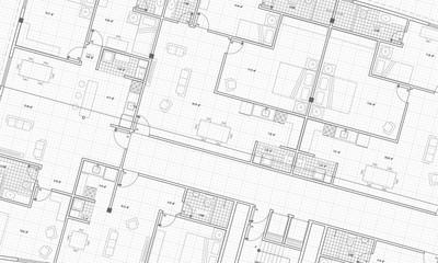 Czysta architektura Plan pięter Plan stylu Styl Siatka Białe tło