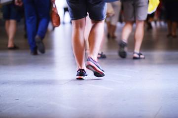 people legs, people walking, blurred
