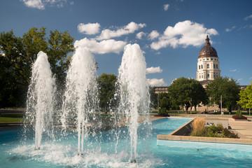 Topeka Kansas Capital Capitol Building Fountains Downtown City Skyline