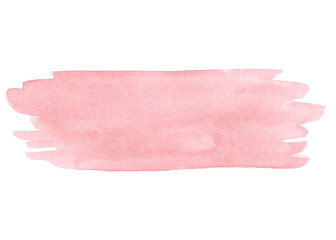 Hand painted pink watercolor texture isolated on the white background.